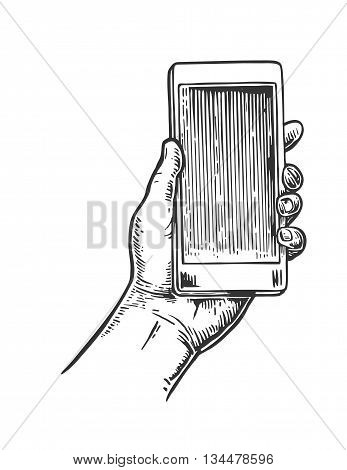 Smartphone hold male hand. Vintage drawn vector engraving illustration for info graphic poster web
