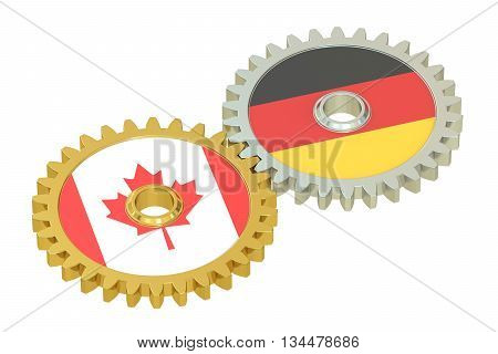 Canada and Germany flags on a gears 3D rendering isolated on white background