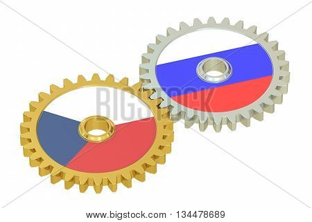 Czech Republic and Russia flags on a gears 3D rendering isolated on white background
