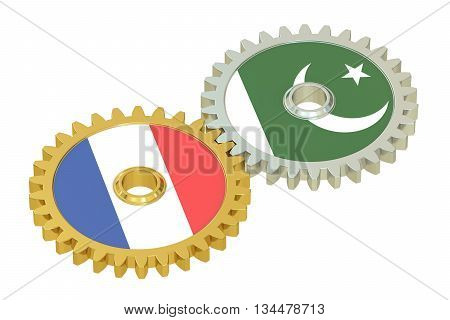 France and Pakistan flags on a gears 3D rendering isolated on white background