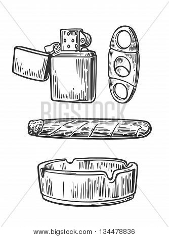 Lighter, cigar, ashtray,  guillotines for cigars. Set of vintage smoking tobacco elements. Vector vintage engraved black illustration isolated on white background.
