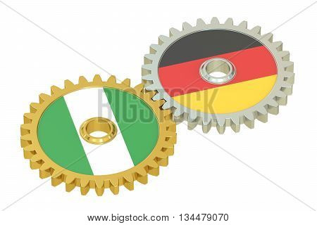 Nigeria and Germany flags on a gears 3D rendering isolated on white background