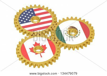 North American Union NAU concept on a gears 3D rendering