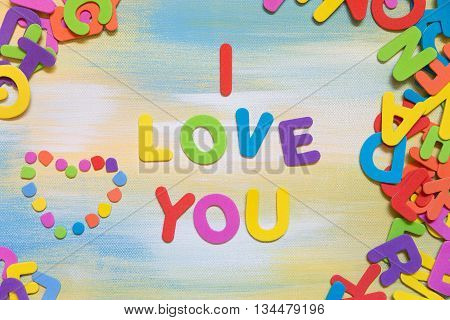 Colorful Letters Building The Text I Love You