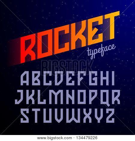 Constructivism style Rocket typeface vector illustration