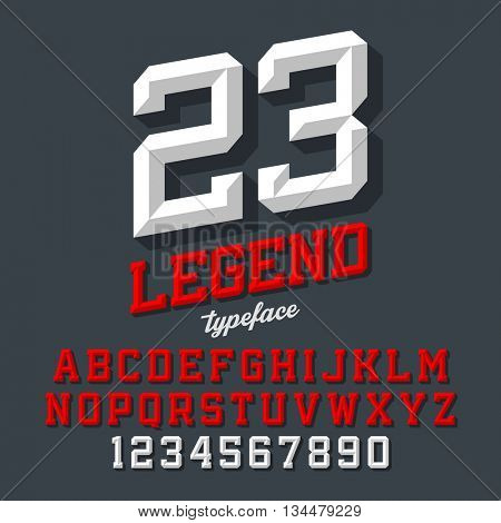 Legend typeface. Beveled sport style retro font. Letters and numbers, vector illustration.