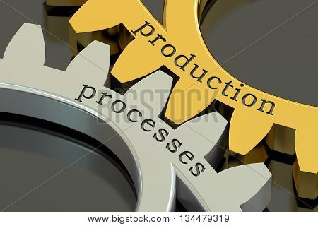 production processes concept on the gearwheels 3D rendering