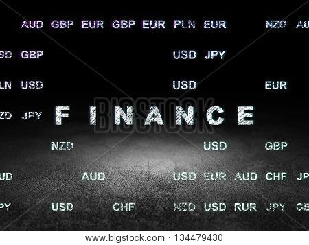 Currency concept: Glowing text Finance in grunge dark room with Dirty Floor, black background with Currency