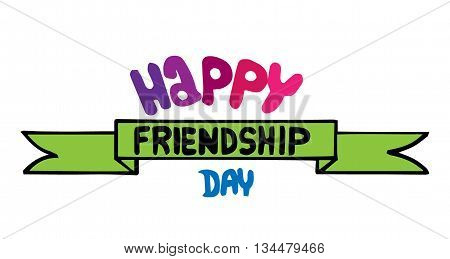 Lettering Happy friendship day on the white background. Can be used for card invitation posters texture backgrounds placards banners.
