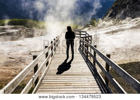Silhouette of female standing on boardwalk with steam in Mammoth Hot Springs in Yellowstone National Park, Wyoming
