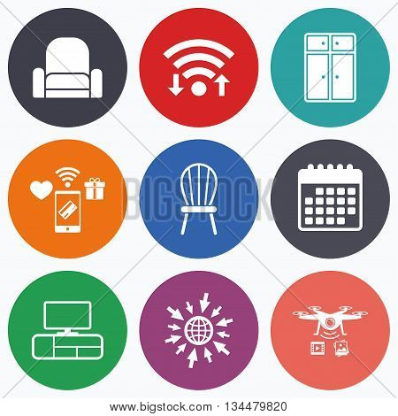 Wifi, mobile payments and drones icons. Furniture icons. Cupboard, chair and TV table signs. Modern armchair symbol. Calendar symbol.