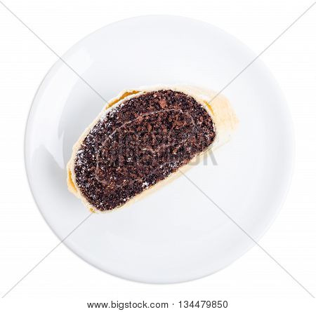 Delicious poppy seed roll. Isolated on a white background.