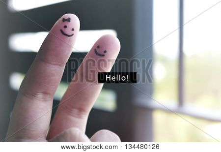 Victory Hand Smiley Sign Hello Word Concept