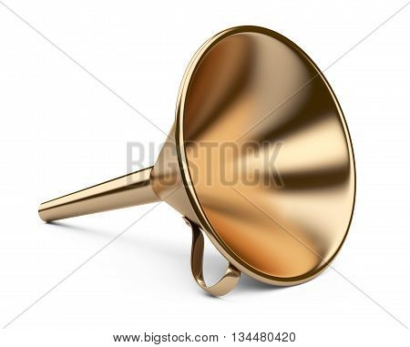 Laboratory golden funnel. 3D illustration on white background.