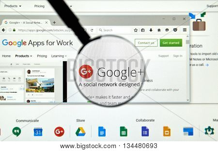 MONTREAL CANADA - MAY 23 2016 : Google plus web page under magnifying glass. Google plus is an interest-based social network that is owned and operated by Google Inc