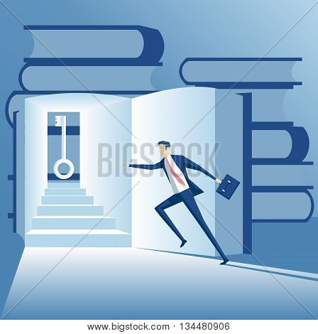 Business concept searching solutions vector illustration businessman looking for the solution in the book the businessman finds the key to the task
