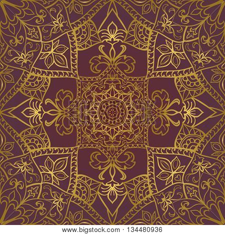 Rich gold ornament on a lilas background. Vector seamless ornate oriental pattern. Template for textile.