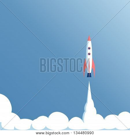 vector illustration launch spacecraft or spaceship on a blue background spacecraft takeoff startup concept