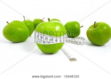 grüne Äpfel gemessen die Meter, Sport Äpfel