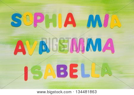 Colorful Letters, Favourite Maiden Names