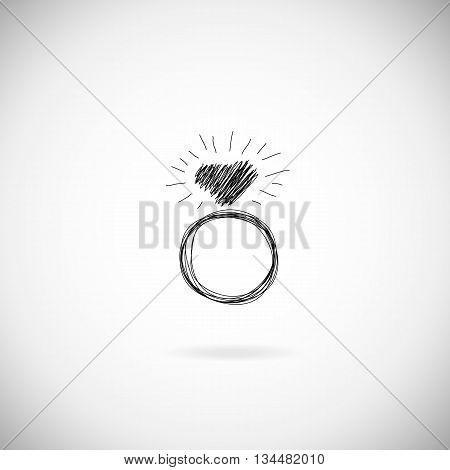 Wedding silhouette rings vector icon. Wedding invitation. Jewelry. Hand drawn illustration