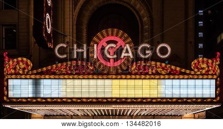 Chicago, United States: May 26th, 2016. Chicago Blank Marquee with copy space