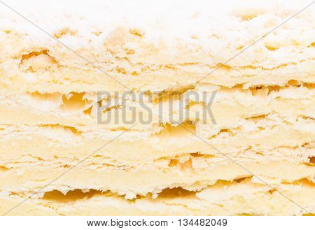 Russian Napoleon cake. Macro. Photo can be used as a whole background.