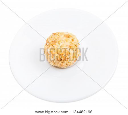 White chocolate candy with crumbled biscuit. Isolated on a white background.