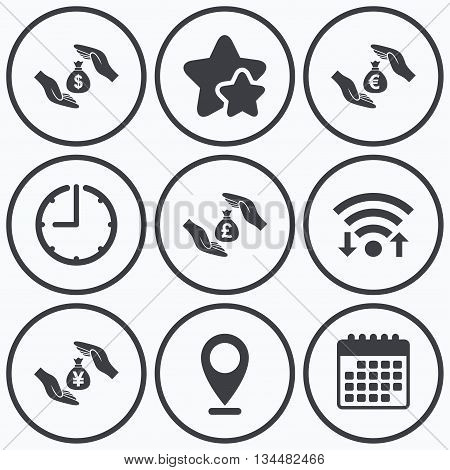 Clock, wifi and stars icons. Hands insurance icons. Money bag savings insurance symbols. Hands protect cash. Currency in dollars, yen, pounds and euro signs. Calendar symbol.