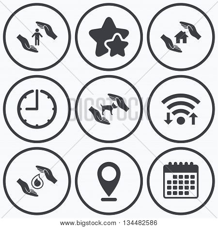 Clock, wifi and stars icons. Hands insurance icons. Shelter for pets dogs symbol. Save water drop symbol. House property insurance sign. Calendar symbol.