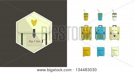 Traveller set and logo. Backpack, sketchbooks, coffee cup.Three color options.Flat style with text. Tourism icons