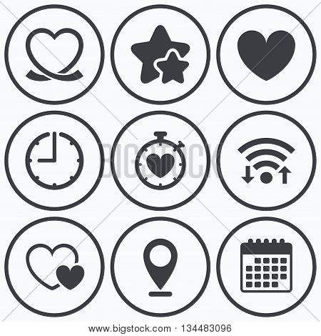 Clock, wifi and stars icons. Heart ribbon icon. Timer stopwatch symbol. Love and Heartbeat palpitation signs. Calendar symbol.