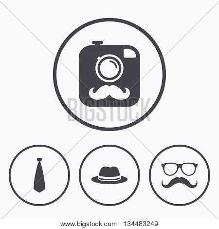 Hipster photo camera with mustache icon. Glasses and tie symbols. Classic hat headdress sign. Icons in circles.