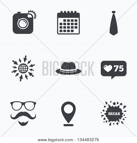 Calendar, like counter and go to web icons. Hipster photo camera. Mustache with beard icon. Glasses and tie symbols. Classic hat headdress sign. Location pointer.