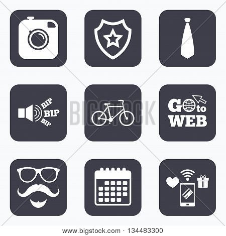 Mobile payments, wifi and calendar icons. Hipster photo camera. Mustache with beard icon. Glasses and tie symbols. Bicycle sign. Go to web symbol.