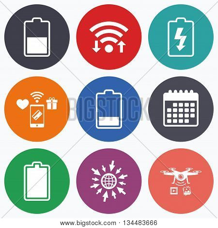 Wifi, mobile payments and drones icons. Battery charging icons. Electricity signs symbols. Charge levels: full, half and low. Calendar symbol.