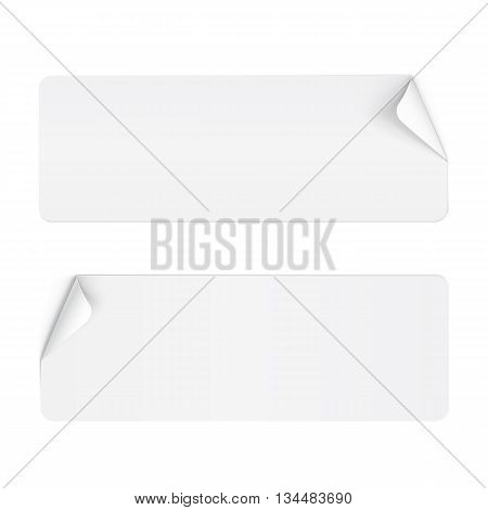 Illustration of Two White Paper Stickers with Bended Coner