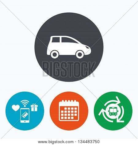 Car sign icon. Hatchback symbol. Transport. Mobile payments, calendar and wifi icons. Bus shuttle.