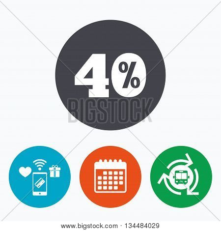 40 percent discount sign icon. Sale symbol. Special offer label. Mobile payments, calendar and wifi icons. Bus shuttle.