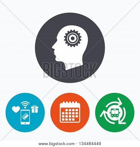 Head with gear sign icon. Male human head symbol. Mobile payments, calendar and wifi icons. Bus shuttle.