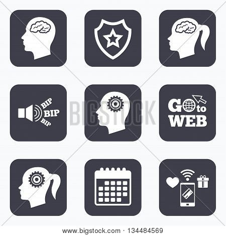 Mobile payments, wifi and calendar icons. Head with brain icon. Male and female human think symbols. Cogwheel gears signs. Woman with pigtail. Go to web symbol.
