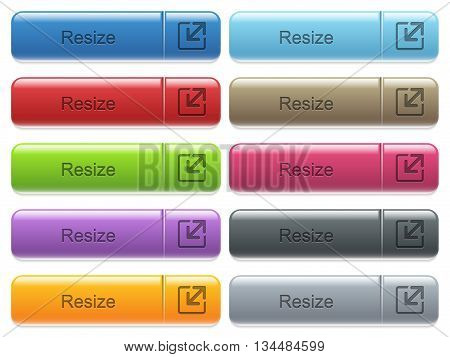 Set of resize glossy color captioned menu buttons with engraved icons