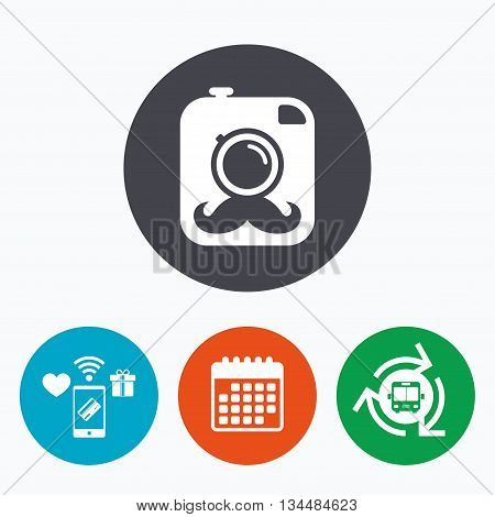 Hipster photo camera with mustache sign icon. Retro camera symbol. Mobile payments, calendar and wifi icons. Bus shuttle.
