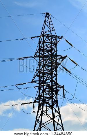 Reliance power lines closeup on the sky background