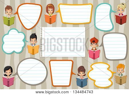Template with cartoon children reading books. Students talking with speech bubbles.