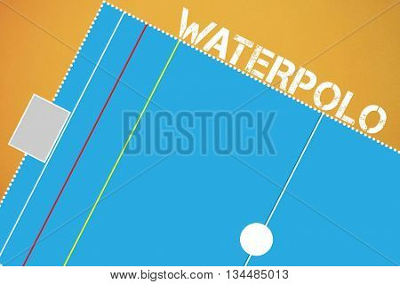 Waterpolo message on a white background against orange background