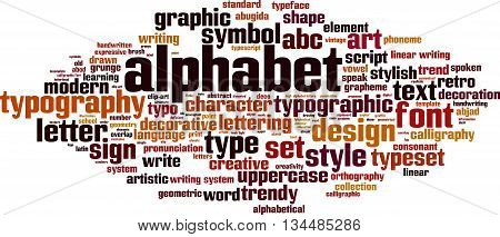Alphabet word cloud concept. Vector illustration on white