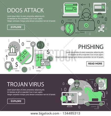 Three horizontal internet security banner set with descriptions of ddos attack phishing trojan virus vector illustration