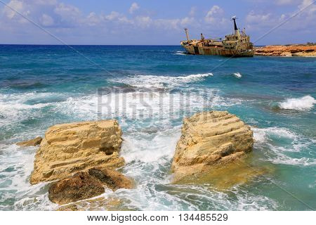 Erdo III shipwreck on Cyprus shore near Paphos city