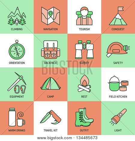Mountain climbing linear icon set with descriptions of tourism survey camp rest outfit light vector illustration